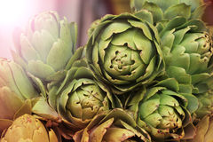 Fresh artichokes on a farmers market Royalty Free Stock Image