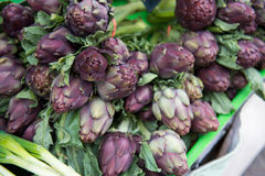 Fresh artichokes at the market. The texture may be used for printing on fabric or paper, as background and in web design royalty free stock images