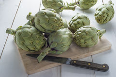 Fresh artichokes to cook Royalty Free Stock Images