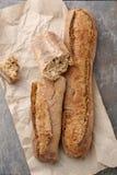 Fresh artizan baguettes top view Stock Photos