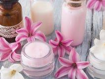 Natural fresh cosmetics fresh as spring. Fresh as spring concept, natural cosmetics royalty free stock photo