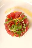 Fresh Asian seafood tartare with micro green salad Stock Photos