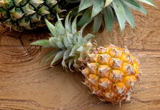 Fresh Asian small pineapple. On wooden plate in outdoor sunlight Stock Photography