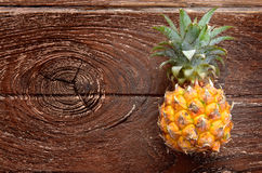Fresh Asian small pineapple. On wooden plate in outdoor sunlight Stock Image