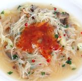 Fresh asian soup with rice noodles Royalty Free Stock Image