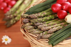 Fresh Asparagus. Close-up of fresh green asparagus in a basket Stock Image
