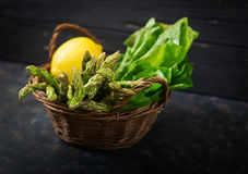 Fresh asparagus in basket. On dark  background Royalty Free Stock Photo