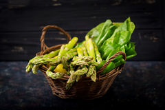 Fresh asparagus in basket. On dark  background Royalty Free Stock Photography
