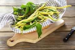 Fresh asparagus beans in a basket Royalty Free Stock Image