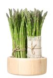 Fresh asparagus. In bucket isolated on white Royalty Free Stock Photos
