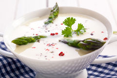 Fresh asparagus in cream soup Stock Images