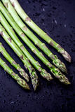 Fresh Asparagus Isolated on black background with drops of water Stock Photography