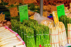 Fresh asparagus on market stand Stock Image