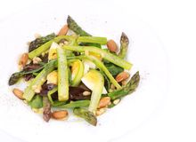 Fresh asparagus salad. Isolated on a white background Royalty Free Stock Image