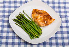 Fresh Asparagus with Salmon on Square Plate Stock Photography