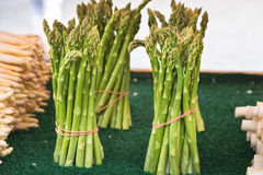 Fresh asparagus selling in a farmers market Royalty Free Stock Photos