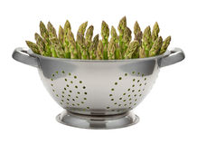Fresh Asparagus in a Stainless Steel Colander Stock Photo