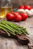 Fresh asparagus, tomatoes, eggs Stock Images