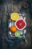 Fresh assorted citrus fruits Stock Photo