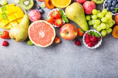 Fresh assorted fruits and berries Stock Image