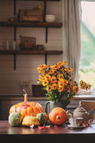 Fresh assorted pumpkins and squash on the table at country house Royalty Free Stock Images
