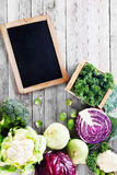 Fresh Assorted Vegetable with Chalkboard Stock Photography