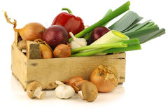 Fresh assorted vegetables in a wooden crate Royalty Free Stock Image
