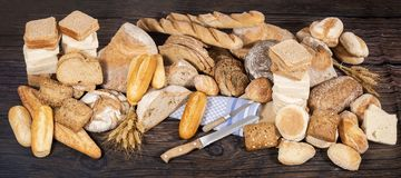 Fresh Assortment of baked bread varieties Royalty Free Stock Photos