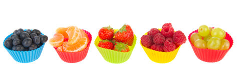 Fresh assortment fruit in cups Royalty Free Stock Image
