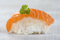 Fresh  atlantic Japanese salmon Sushi Royalty Free Stock Photo
