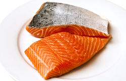 Fresh Atlantic Salmon Stock Photo