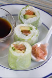 Fresh  atlantic salmon maki with dressing Stock Images