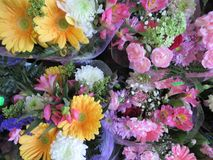 Fresh and attractive many colorful flower bouquets at the florist. Fresh and attractive many colorful flower bouquets from the florist, Canada stock images