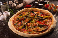 Fresh Aubergine Pizza Royalty Free Stock Images
