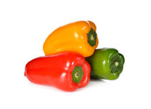 Fresh Aura sweet green, red, yellow pepper on white Royalty Free Stock Image