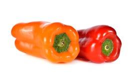 Fresh Aura sweet red and orange pepper on white Stock Photo