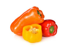Fresh Aura sweet red, yellow and orange pepper on white Royalty Free Stock Photos