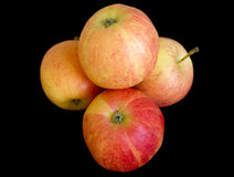 Fresh autumn apples on black Stock Photos