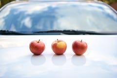Fresh autumn apples on car Royalty Free Stock Photography