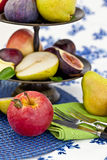 Fresh autumn fruit. In a vintage bowl Royalty Free Stock Image