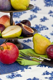 Fresh autumn fruit. In a vintage bowl Stock Photography