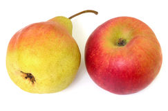 Fresh autumn fruits apple and pear Royalty Free Stock Images