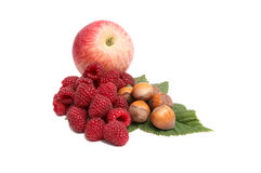 Fresh autumn fruits on a white. Royalty Free Stock Images