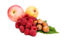 Fresh autumn fruits on a white. Royalty Free Stock Photo