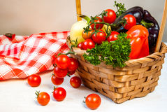 Fresh autumn vegetables in a basket Royalty Free Stock Images