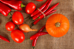 Fresh autumn vegetables lie on sacking Royalty Free Stock Photo