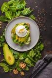 Fresh avocado breakfast with egg poached sandwich. Green salad a. Fresh avocado breakfast with egg benedict sandwich. Green salad and seeds, healthy vegetarian Stock Photos