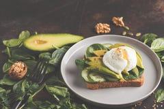Fresh avocado breakfast with egg poached sandwich. Green salad a. Fresh avocado breakfast with egg benedict sandwich. Green salad and seeds, healthy vegetarian Royalty Free Stock Photo