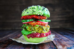 Fresh Avocado burger with quinoa stock photo