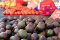 Fresh avocado at farmer market in France, Europe. Italian avocados. Street French market at Nice. Fresh food by local farmers. Fresh vegetables and fruit Stock Photo
